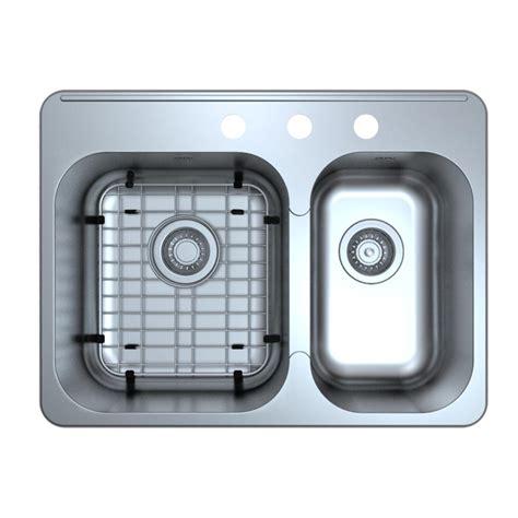 60 40 drop in kitchen sinks ancona capri series drop in stainless steel 27 in 3 hole