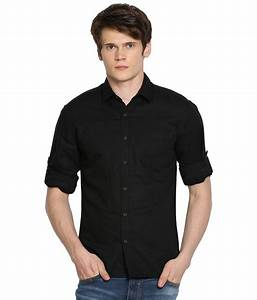 Locomotive Black Linen Blend Shirt for Men - Buy ...