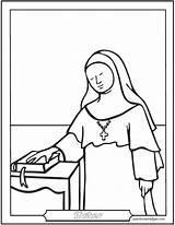 Nun Catholic Coloring Saint Pages Saints Sister Female Nuns Sisters Catechism Dominican Worksheets Benedictine Carmelite Saintanneshelper Baltimore sketch template