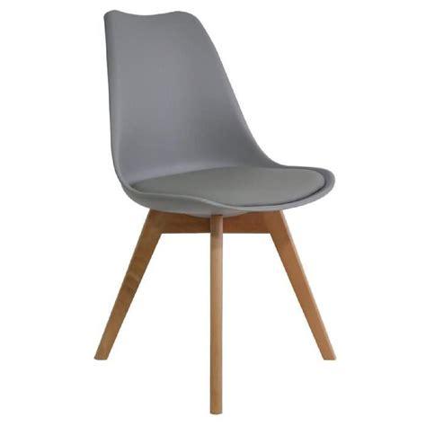 cdiscount chaises chaise style tulip pieds bois assise rembourrée gris
