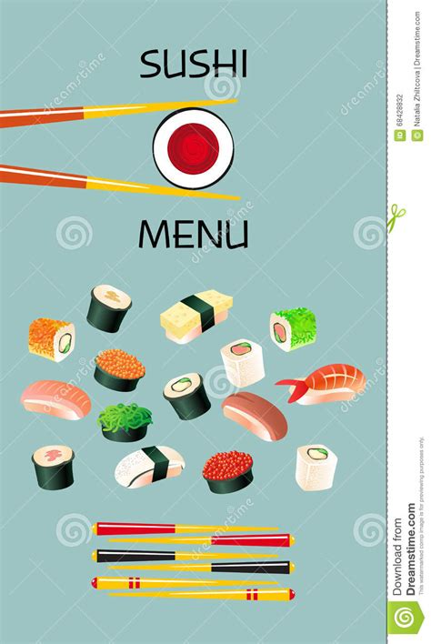 cuisine disigne sushi menu template japanese cuisine vector