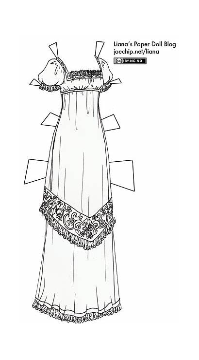 Gown Regency Coloring Paper 1800s Dolls Lianaspaperdolls