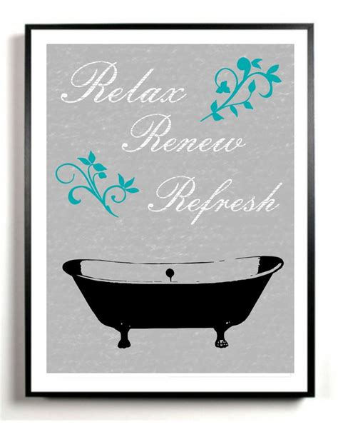 Bathroom Art Print Bath Tub Artwork Poster Gray And Black