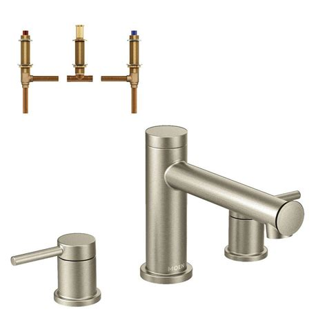 moen align 2 handle deck mount tub faucet trim kit with valve in brushed nickel t393bn
