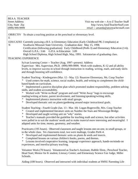 one page teaching resume one page resume exle template