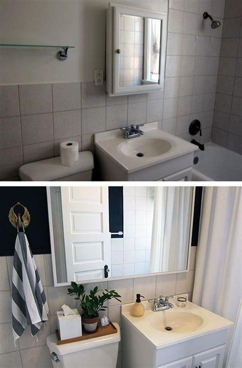 rental bathroom   makeover  dark wall
