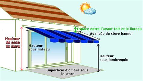 hauteur de pose d un store banne pour terrasse ext 233 rieur maison