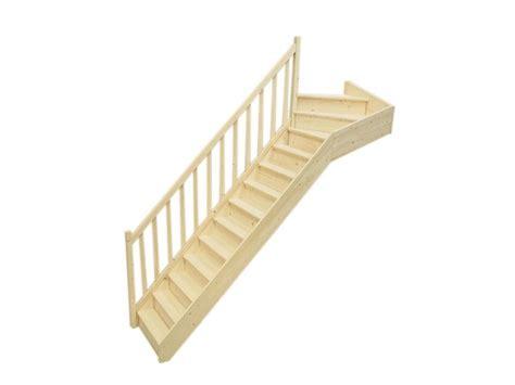 escalier 1 4 tournant haut gauche en sapin