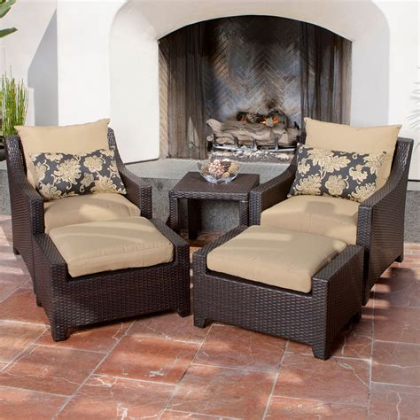 patio set with ottoman delano 5 piece outdoor chair and ottoman with side table