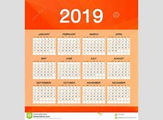 Simple Calendar For 2019 Year, Week Starts Sunday, Orange
