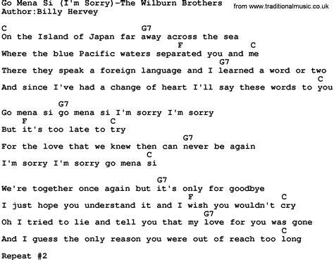 Go Mena Si(i'm Sorry)-the Wilburn Brothers