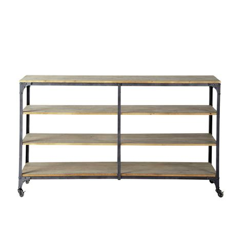 industrial metal console table metal and wood industrial console table on castors in