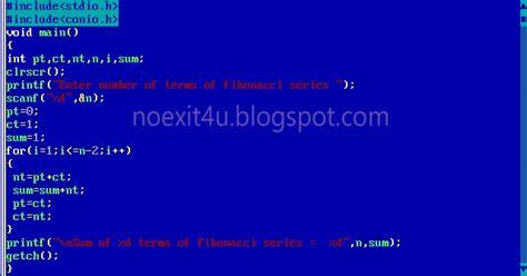 program  calculate sum   terms  fibonacci series
