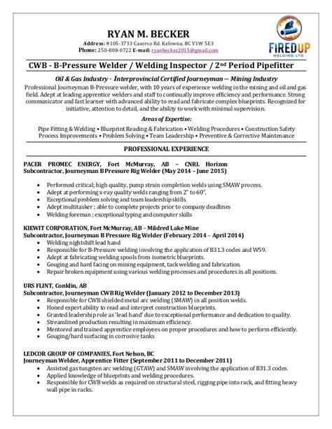 welder cv exle and template welder resume sles