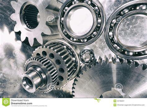 Cogwheels And Ball-bearings In Titanium Stock Photo
