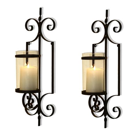 Iron Candle Sconce by Adeco Brown Iron Vertical Wall Hanging Accents Candle