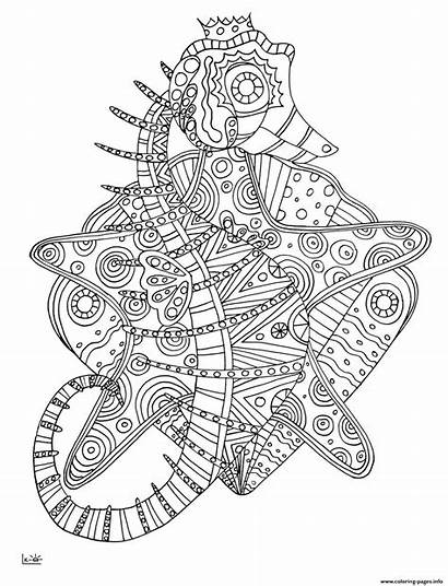 Coloring Seahorse Pages Tribal Pattern Adults Zentangle