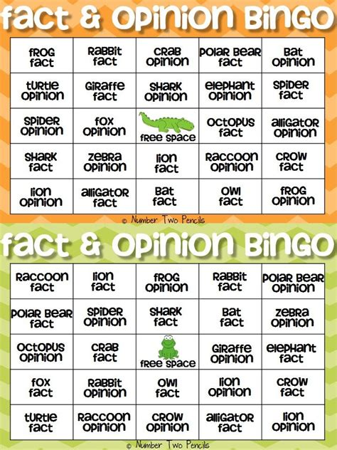 fact opinion bingo and other cooperative learning