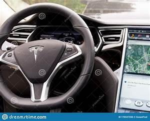 Bordeaux , Aquitaine / France - 03 20 2020 : Tesla Car Model S Interior Digital Dashboard Tablet ...