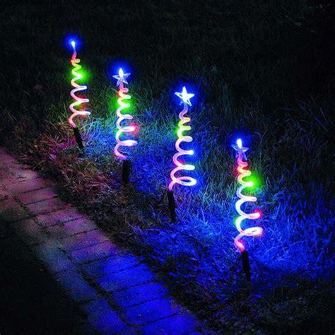 multi coloured led spiral pathfinder christmas lights 4 pack