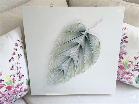 diy fadenbild blatt aus naegeln elfenweiss