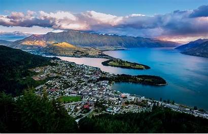 Zealand Queenstown Landscapes Lake Water Mountains Bay