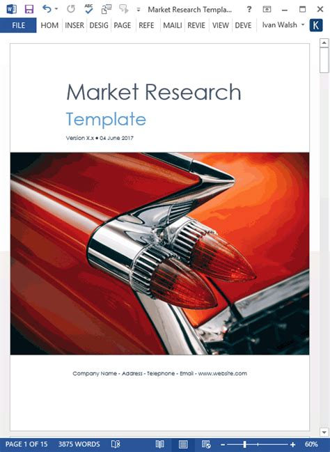 market research templates   ms word   excel