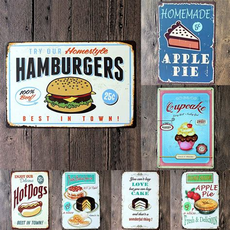 plaque metal cuisine food painting iron panel 20 30cm metal stickers tin signs