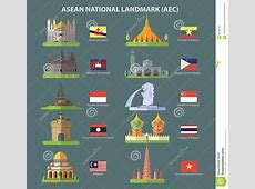 Asean National Landmark AEC Stock Vector Image 66109767