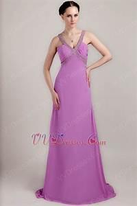V Neckline Lilac Chiffon Handmade Long A-line Prom Dress
