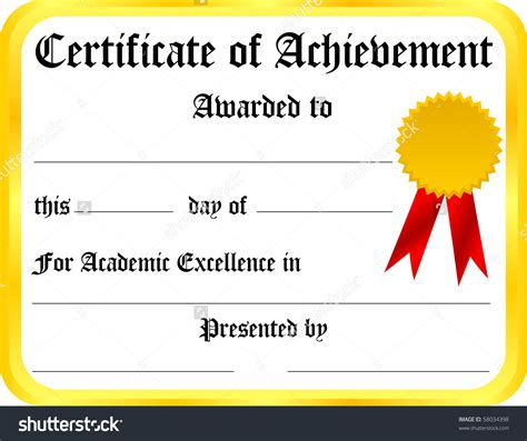 certificate templates with photos certificate of achievement template stock photo 58034398