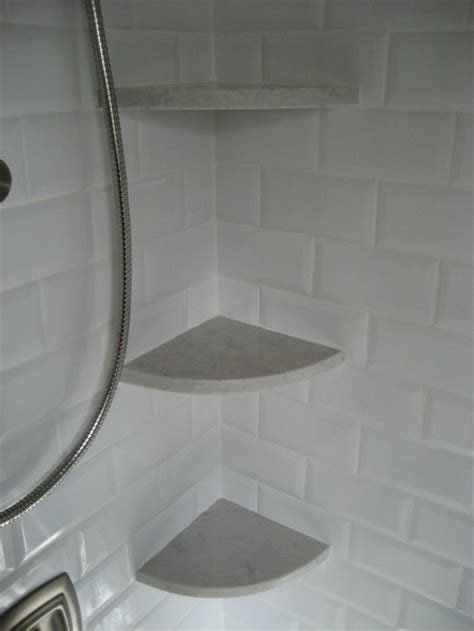 marble shelf for shower silestone lagoon corner shelves for a shower the look of marble but much more durable diy