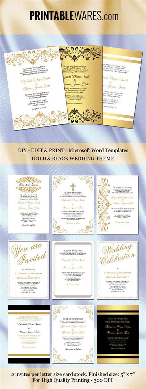 Gold and black wedding invitation templates for Microsoft