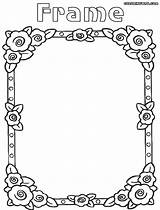Frame Coloring Pages Clipart Drawing Flowers Clip sketch template