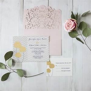 blush pink pocket laser cut wedding invites with chevron With yellow laser cut wedding invitations