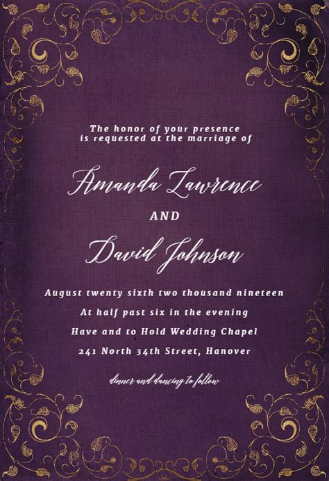 swirls  frames purple wedding invitation template