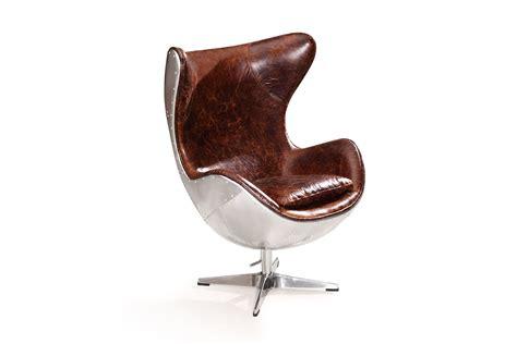 siege en oeuf fauteuil oeuf aviateur vintage en cuir et métal