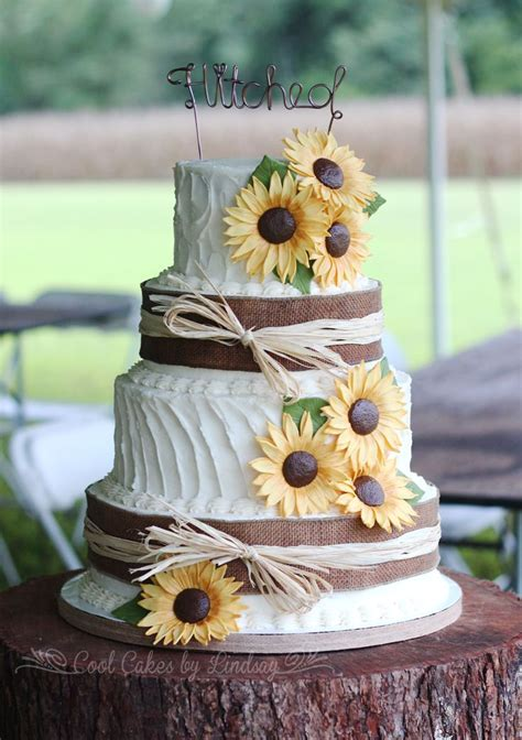 Sunflowers And Burlap Wedding Cake Textured Buttercream