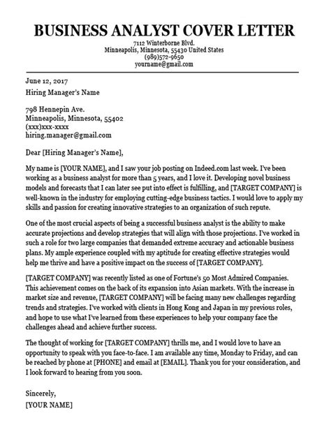 business analyst cover letter business analyst cover letter sle resume companion 60082