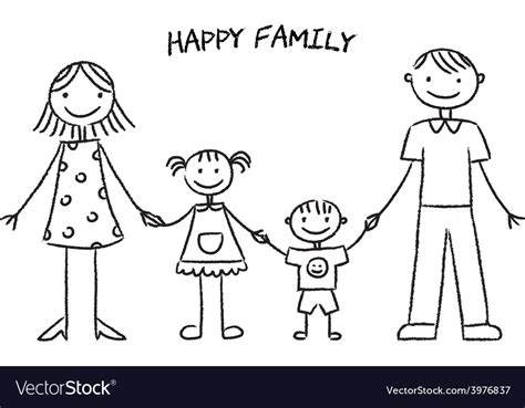happy family sketch royalty  vector image vectorstock