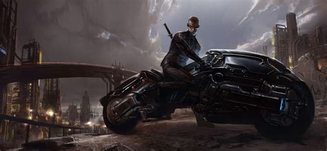 Dark Futuristic Fantasy Art Science Fiction Motorbikes