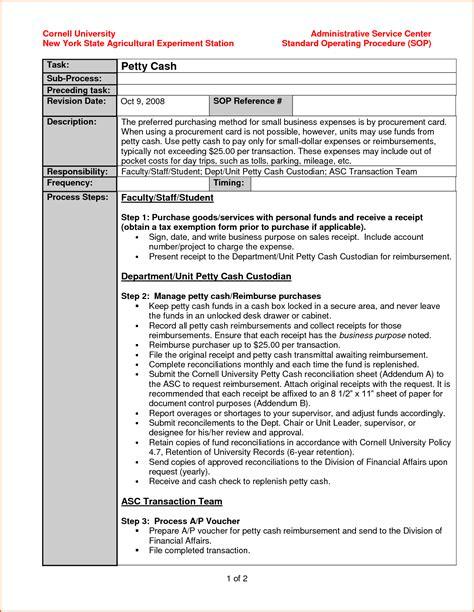 standard operating procedure template