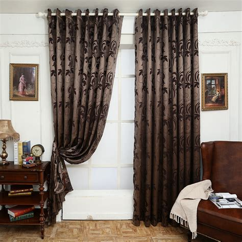 aliexpress buy jacquard curtains leave design brown