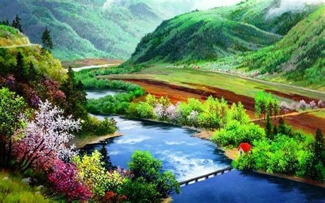 Forest River Bridge Flowers Wallpapers Forest River