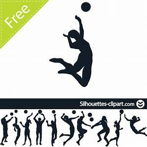 Male Female Volleyball Player Pack Silhouette - Vector ...