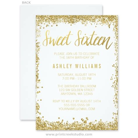 white  gold faux glitter sweet  invitations print
