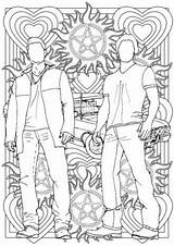 Supernatural Sam Dean Winchester Colouring Coloring Pages Grown Ups Etsy Sheets Mandala Drawings Adult Colour Tv Books Lines Cute Line sketch template