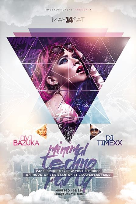 minimal techno party  flyer template   flyers