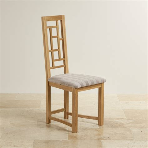 fret back dining chair in oak striped silver fabric