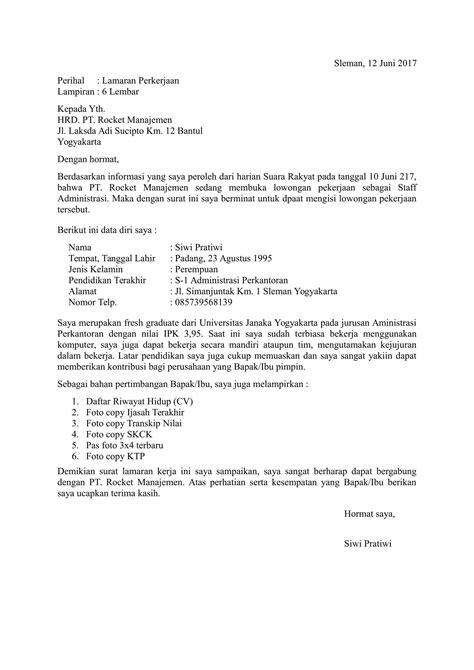 Contoh Surat Lamaran Pekerjaan Yang Ada Kop by Contoh Surat Lamaran Kerja Fresh Graduate Terbaru